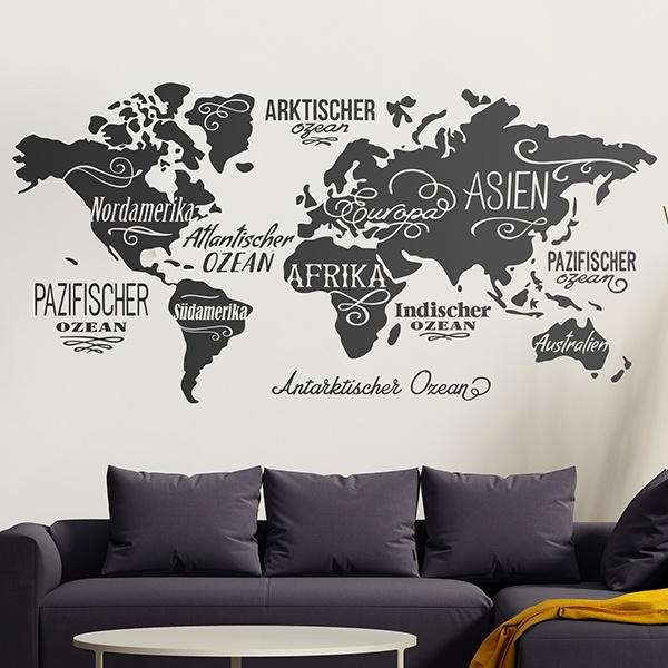 Wall Stickers: Map Mundi Oceans and Continents in German