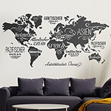 Wall Stickers: Map Mundi Oceans and Continents in German 2