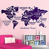 Wall Stickers: Map Mundi Oceans and Continents in German 3