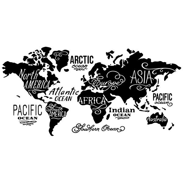 Wall Stickers: Map Mundi Oceans and Continents in english