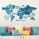 Wall Stickers: Map Mundi Oceans and Continents in english 2