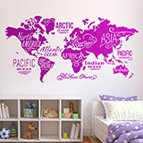 Wall Stickers: Map Mundi Oceans and Continents in english 3