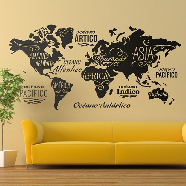 World map wall stickers muraldecal wall stickers map mundi oceans and continents in spanish gumiabroncs Images