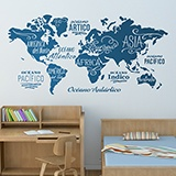Wall Stickers: Map Mundi Oceans and Continents in spanish 2