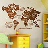 Wall Stickers: Map Mundi Oceans and Continents in spanish 3