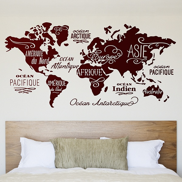 Wall Stickers: Map Mundi Oceans and Continents in French