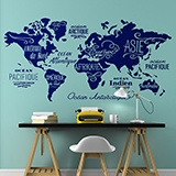 Wall Stickers: Map Mundi Oceans and Continents in French 2