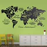 Wall Stickers: Map Mundi Oceans and Continents in French 3