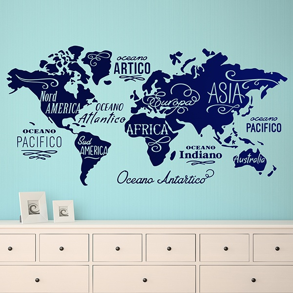 Wall Stickers: Map Mundi Oceans and Continents in Italian