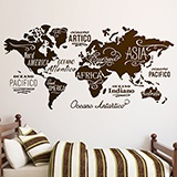 Wall Stickers: Map Mundi Oceans and Continents in Italian 3