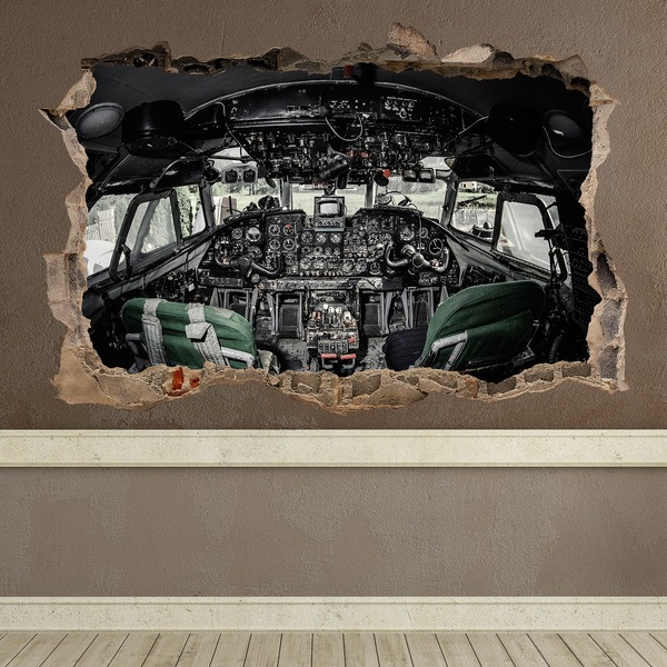 Wall Stickers: Hole Airplane Cockpit