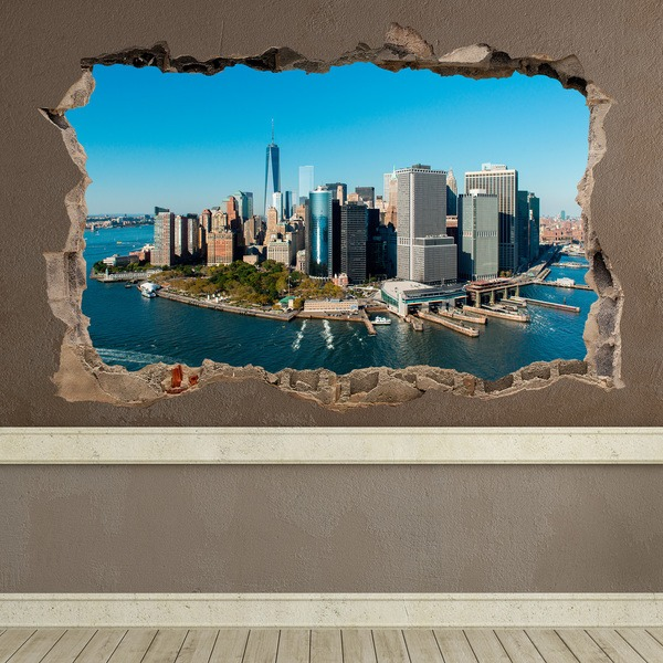 Wall Stickers: Hole Aerial view of New York