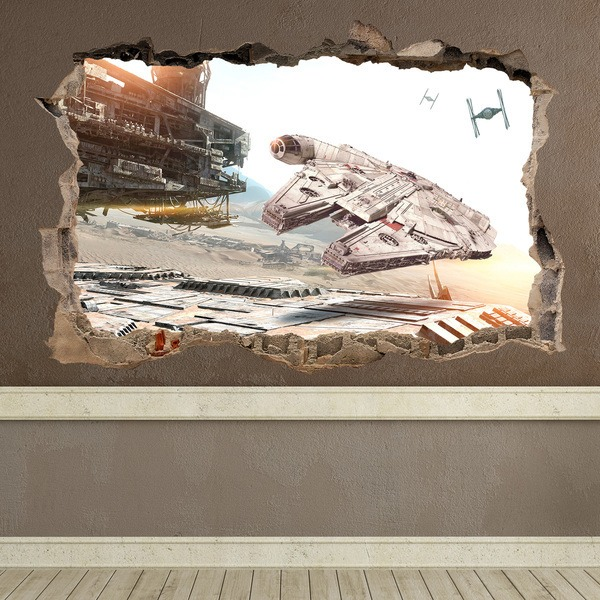 Wall Stickers: Hole Millennium Falcon Star Wars