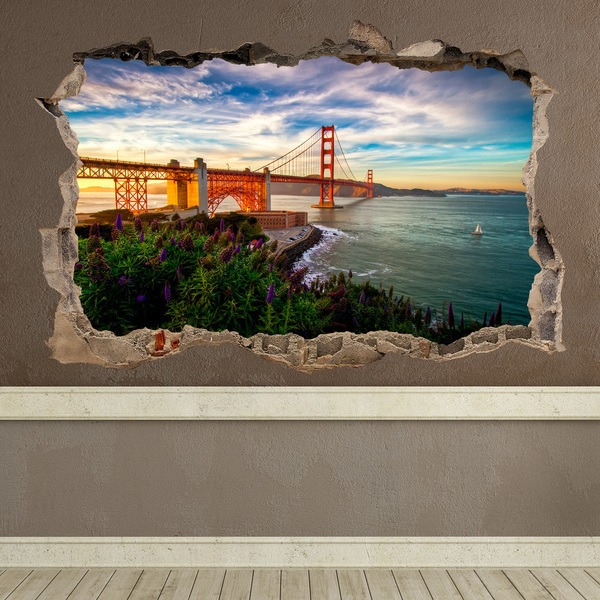 Wall Stickers: Hole Golden Gate San Francisco