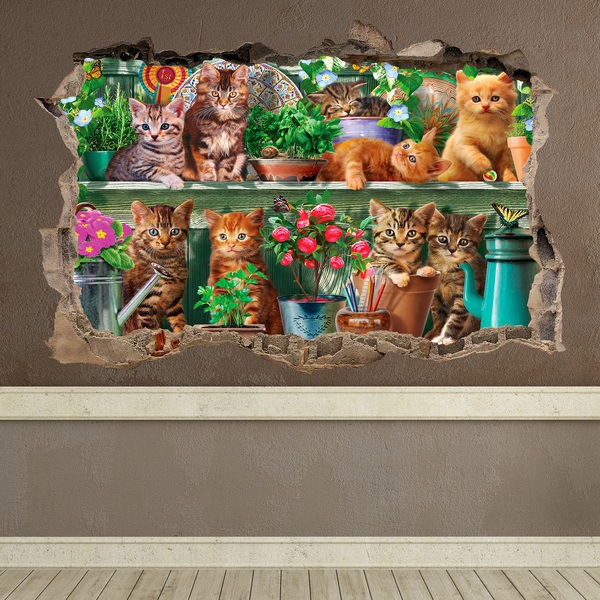 Wall Stickers: Hole Kittens
