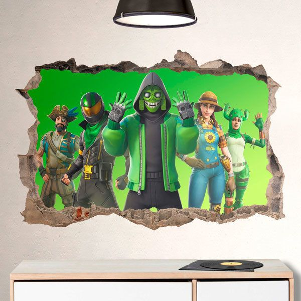 Wall Stickers: Green background squad
