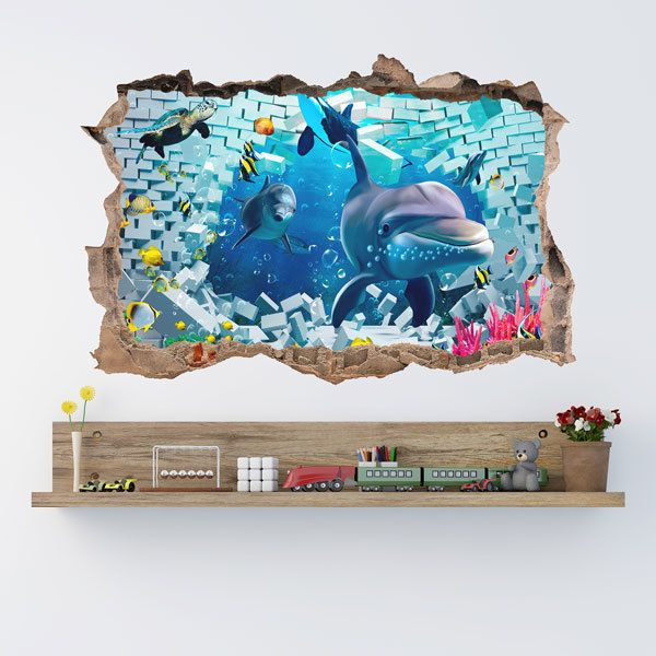 Wall Stickers: Dolphins go through the wall
