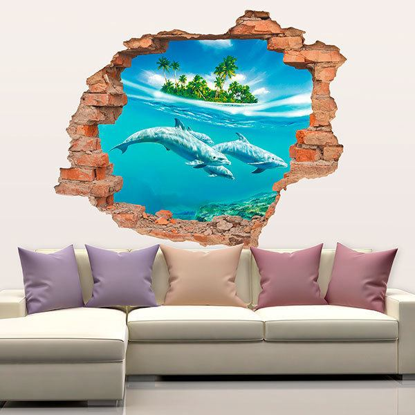 Wall Stickers: Hole dolphins under the sea
