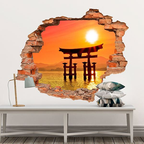 Wall Stickers: Hole Torii gate on the lake