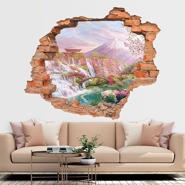 Wall Stickers: Hole Mount Fuji Garden