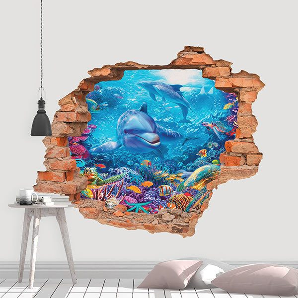 Wall Stickers: Hole dolphins in the depths