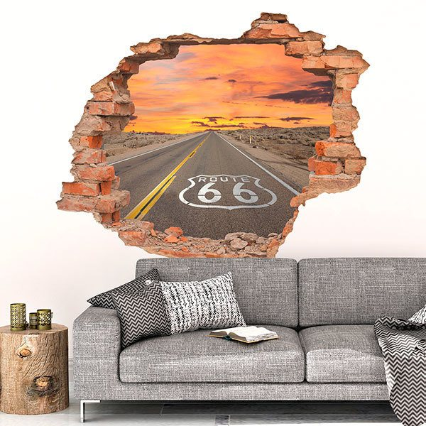 Wall Stickers: Hole Route 66 at sunset
