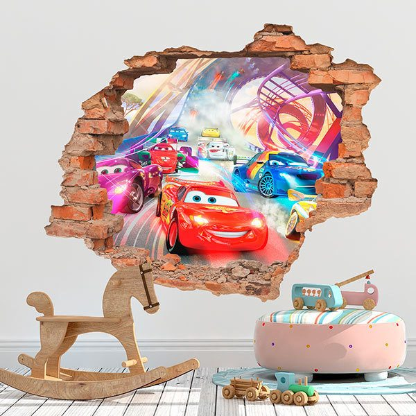 Wall Stickers: Hole Lightning McQueen in race