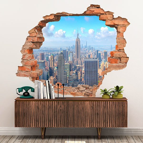 Wall Stickers: Hole Manhattan Skyscrapers