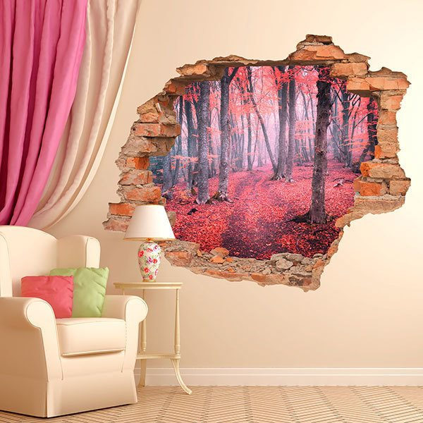 Wall Stickers: Hole Red Forest