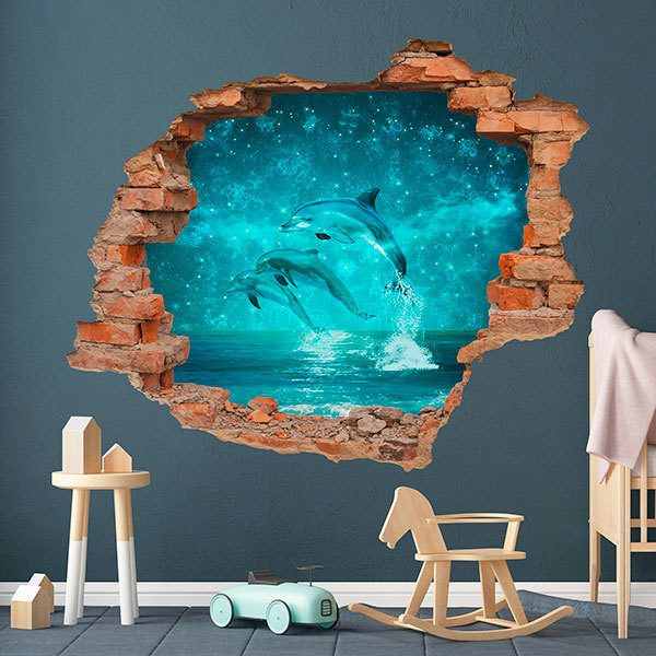 Wall Stickers: Hole magic dolphins