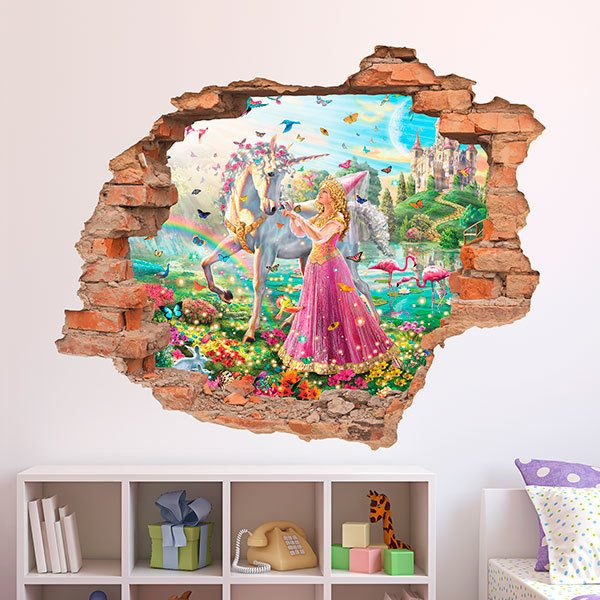 Wall Stickers: Hole Princess and unicorn