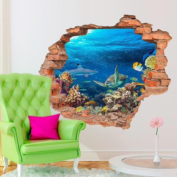 Wall Stickers: Hole Marine Animals