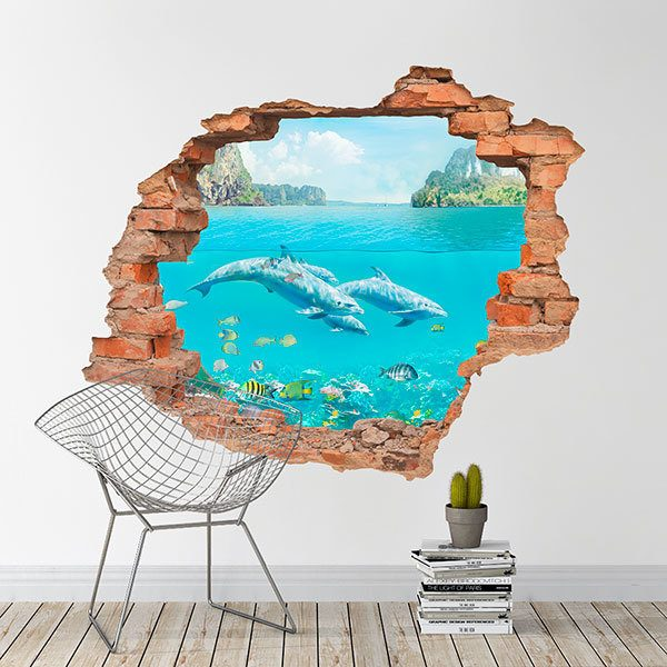 Wall Stickers: Hole dolphins in the Caribbean