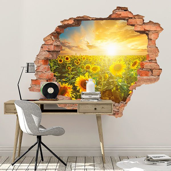 Wall Stickers: Hole Field of sunflowers