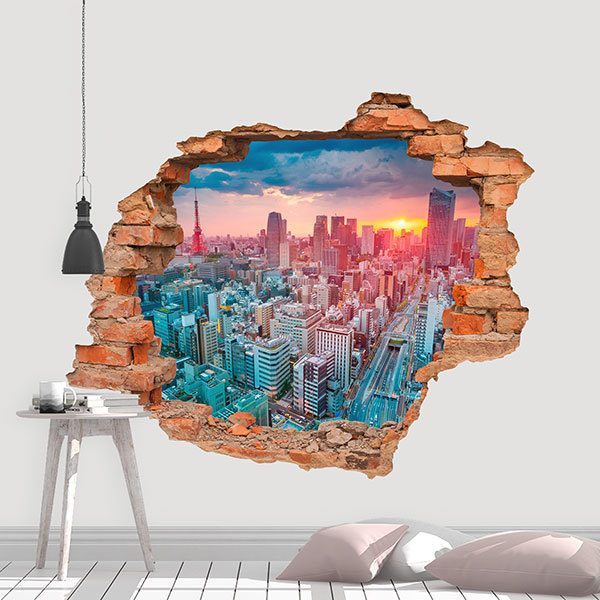 Wall Stickers: Hole Sunrise in Tokyo