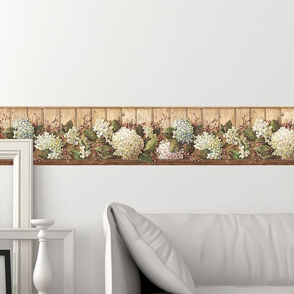 Wall Stickers: Wall border Country flowers