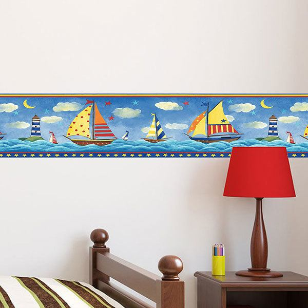 Wall Stickers: Wall border Colorful Boats