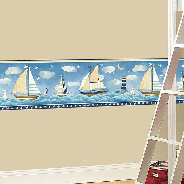 Wall Stickers: Wall border boats