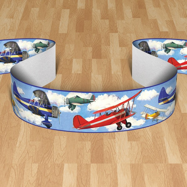 Stickers for Kids: Wall border  aircraft