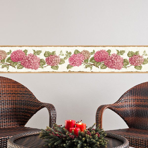 Wall Stickers: Wall Border Hydrangea