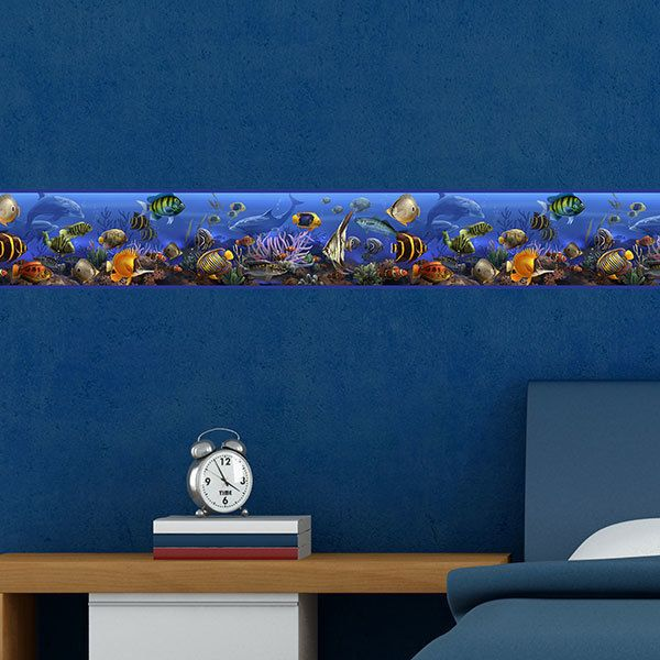 Stickers for Kids: Wall Border Marine world fish