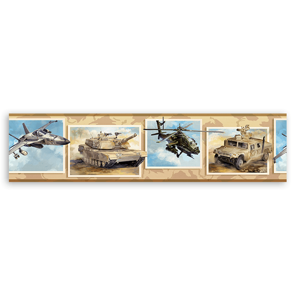 Wall Stickers: Wall Border army vehicles