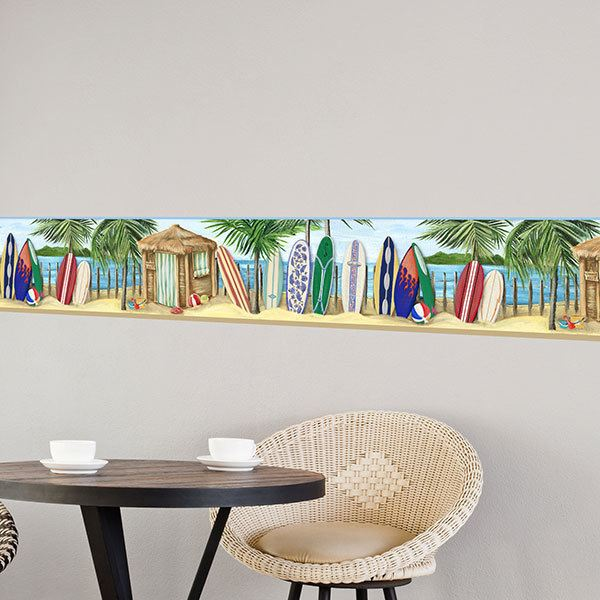 Wall Stickers: Wall Border  Hawaiian beach