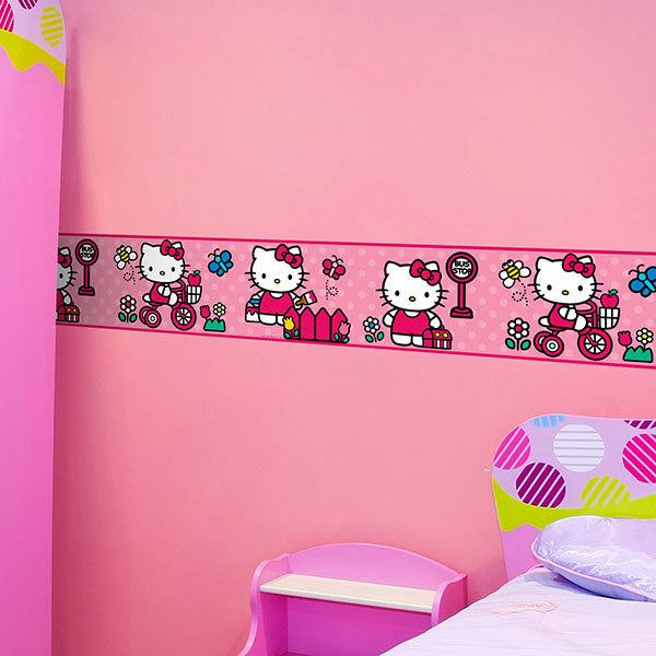 Stickers for Kids: Wall border for children's bethroom Hello Kitty