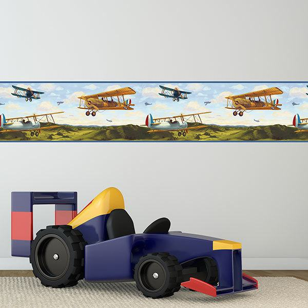 Stickers for Kids: Wall Border French airplanes