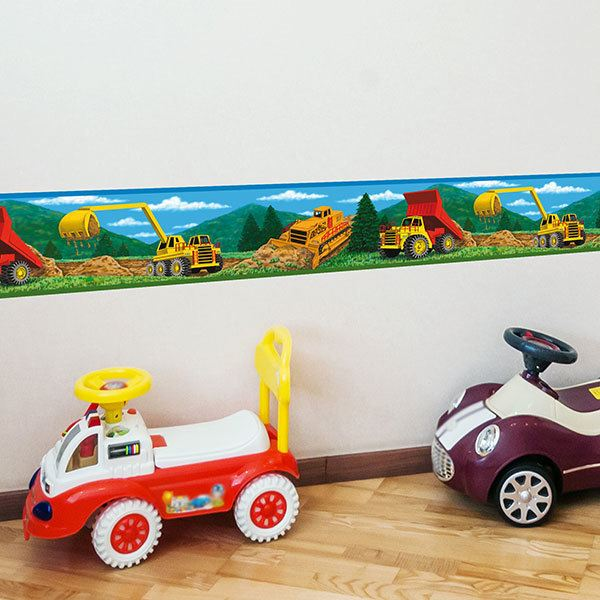 Stickers for Kids: Wall Border Construction machines