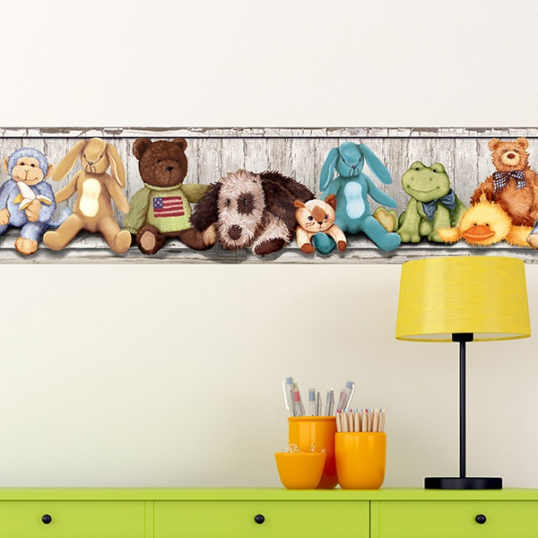 Stickers for Kids: Wall Border Stuffed animals on the shelf