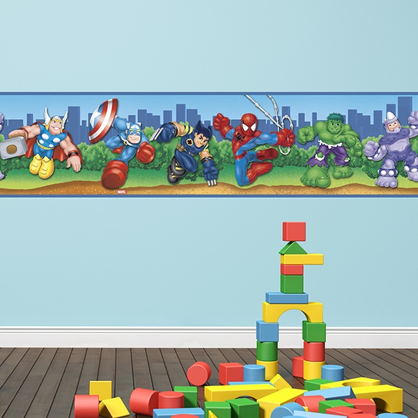 Stickers for Kids: Wall Border Superheros