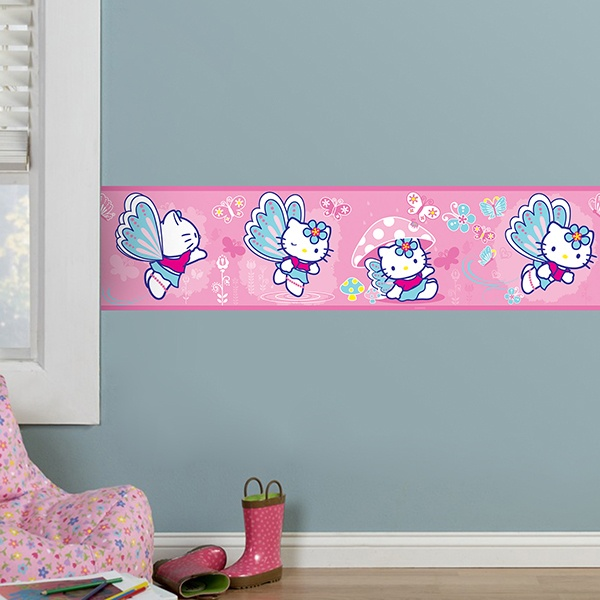 Stickers for Kids: Wall Border Hello Kitty butterfly