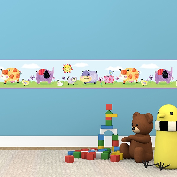 Stickers for Kids: Wall Border Colorful Animals